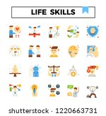 life skill flat icon set. | Shutterstock .eps vector #1220663731