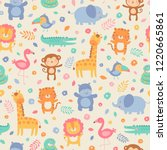 pastel cute jungle animals with ... | Shutterstock .eps vector #1220665861