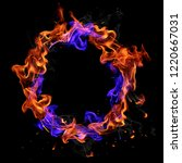 fire ring isolated on black... | Shutterstock . vector #1220667031