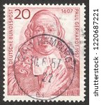 Small photo of MOSCOW RUSSIA - CIRCA NOVEMBER 2018: a post stamp printed in GERMANY dedicated to the 350th Birthday of Paul Gerhardt, lutheran church song writer, circa 1957