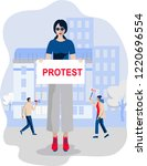 woman protester. girl hold... | Shutterstock .eps vector #1220696554