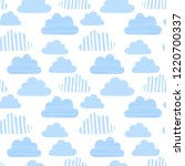 seamless pattern of blue clouds ... | Shutterstock .eps vector #1220700337