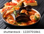 french seafood bouillabaisse... | Shutterstock . vector #1220701861