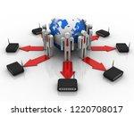 3d rendering transmitter wifi... | Shutterstock . vector #1220708017
