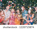 happy friends doing party... | Shutterstock . vector #1220715874