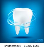 3d teeth protection on blue... | Shutterstock .eps vector #122071651