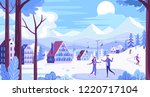 winter mountain resort town and ... | Shutterstock .eps vector #1220717104