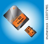 micro sd card on blue... | Shutterstock .eps vector #122071981