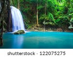 Постер, плакат: Waterfall beautiful erawan waterfall