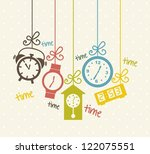 clock icons over beige... | Shutterstock .eps vector #122075551