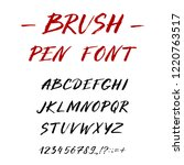 hand drawn font made by ink... | Shutterstock .eps vector #1220763517