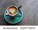 Cappuccino Heart Shape On Wood...