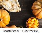 a frame of whole pumpkins of...   Shutterstock . vector #1220790151