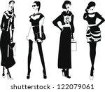 silhouette fashion girls | Shutterstock .eps vector #122079061