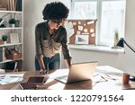 busy working day. attractive... | Shutterstock . vector #1220791564