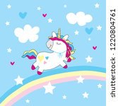 cute unicorn with clouds and... | Shutterstock .eps vector #1220804761
