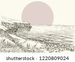 sea  beach and cliff sketch | Shutterstock .eps vector #1220809024