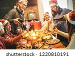friends group with santa hats... | Shutterstock . vector #1220810191