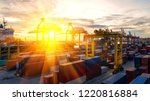 container ship in export and... | Shutterstock . vector #1220816884