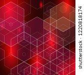 vector hexagonal dark red... | Shutterstock .eps vector #1220818174