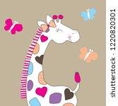 cute giraffe with butterfly... | Shutterstock .eps vector #1220820301