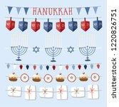 set of hand drawn hanukkah... | Shutterstock .eps vector #1220826751