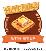 vector waffle with butter and... | Shutterstock .eps vector #1220833531