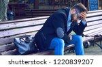 young man with sad facial...   Shutterstock . vector #1220839207