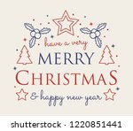 decorative christmas card with... | Shutterstock .eps vector #1220851441