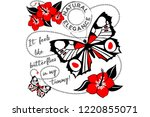 poster of postal with butterfly.... | Shutterstock .eps vector #1220855071