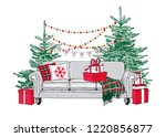 sofa with pillows  plaid and... | Shutterstock .eps vector #1220856877