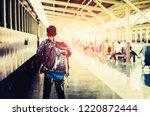 backpacker travelers  standing... | Shutterstock . vector #1220872444