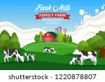 vector milk illustration with... | Shutterstock .eps vector #1220878807