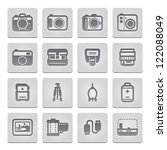 Camera Icons and Camera Accessories Icons : deboss Style - stock vector