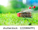 supermarket trolley with coins...   Shutterstock . vector #1220886991