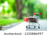 supermarket trolley with coins...   Shutterstock . vector #1220886997