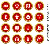 funeral ritual service icons... | Shutterstock . vector #1220907154