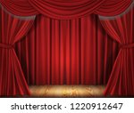 red stage curtain realistic...   Shutterstock .eps vector #1220912647