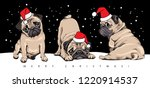 adorable beige puppies pugs in... | Shutterstock .eps vector #1220914537