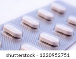 white pills in silver plastic... | Shutterstock . vector #1220952751