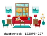 Stock vector living room in yellow red turquoise colors red sofa with table nightstand paintings lamps vase 1220954227