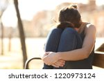 sad woman complaining hiding... | Shutterstock . vector #1220973124