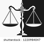 silhouette of court scales | Shutterstock .eps vector #1220984047