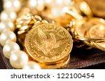 five dollars gold coins usd  ... | Shutterstock . vector #122100454