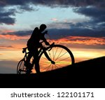 Silhouette Of The Cyclist On...