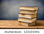 old vintage books on wooden... | Shutterstock . vector #122101441