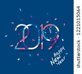 2019 happy new year. patterned... | Shutterstock .eps vector #1221015064