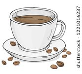 hot black coffee in a cup with... | Shutterstock .eps vector #1221016237