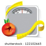 diet concept. apple with... | Shutterstock .eps vector #122102665