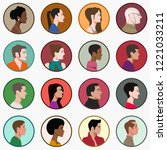 set of people faces in profile | Shutterstock .eps vector #1221033211